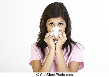 estornudar, niña, papel, tejido