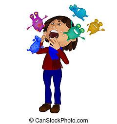 estornudar, niño, enfermo, microbios