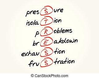 Estrés, acrónimo, fondo de concepto de salud