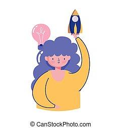 estrategia, creatividad, inicio, tecnología, cohete, niña, gente, idea