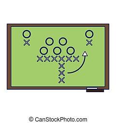 Estrategia de fútbol americano en líneas azules de pizarra