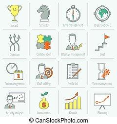 Estrategia de negocios planeando icono en línea plana