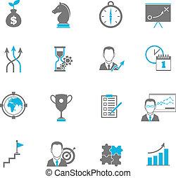 Estrategia de negocios planeando iconos