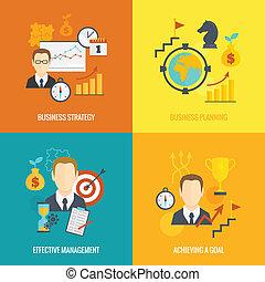 Estrategia de negocios planificación de icono plano