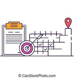estrategia, icono, línea, empresa / negocio, vector, planificación, plano
