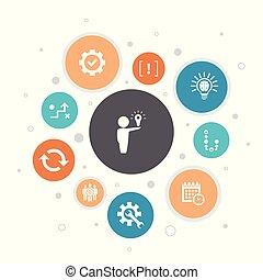 estrategia, iconos, ejecución, pasos, 10, horario, burbuja, infographic, plan, solución, design.