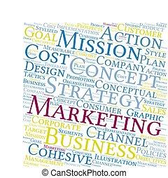 estrategia, nube, mercadotecnia, palabra