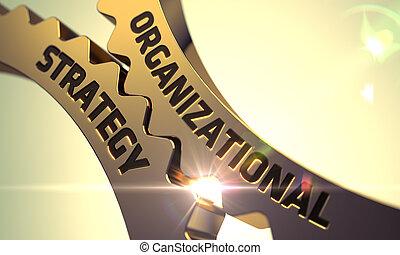 Estrategia organizativa sobre engranajes metalicos dorados.