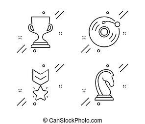 estrategia, set., registro, música, signo., vector, medalla, premio, star., retro, mercadotecnia, clasificación, vinilo, ganador, trofeo, taza, iconos