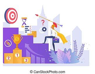 estrategia, vector, ilustración negocio, plano