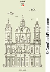 estrela, lisboa, señal, basílica, portugal., icono