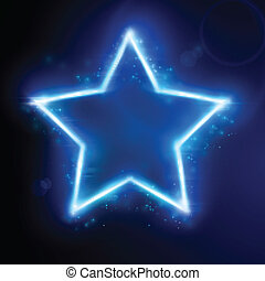 Estrella azul con efecto luz
