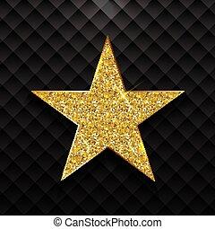 Estrella brillante de oro en el fondo negro Vector Illustración