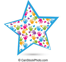 Estrella con las manos de los niños logo