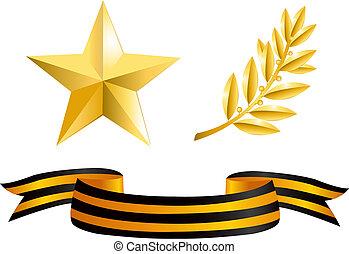 Estrella de oro, rama de laurel y cinta de George