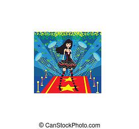 Estrella de rock en una alfombra roja