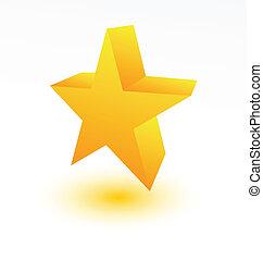 Estrella dorada 3D en blanco
