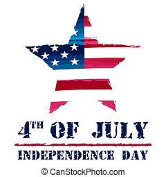 Estrella en EE.UU. dibujando bandera y 4 de julio - Independencia americana