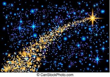 Estrella fugaz abstracta, estrella de la Navidad estrella fugaz con un brillante sendero de estrellas en el fondo azul oscuro meteoroides, cometa, asteroide, vector de retroceso ilustración