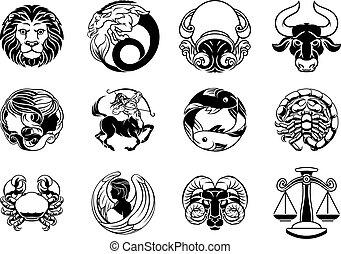 estrella, horóscopo, señales, zodíaco, conjunto, astrología, icono