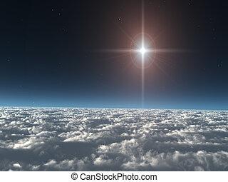 estrella, nubes, sobre