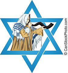 estrella, rabbi, david, shofar, talit, sopla