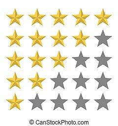 estrella, revisión, reacción, dorado, 5, row.