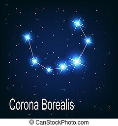 """estrella, sky., """"corona, ilustración, borealis"""", vector, noche, constelación"""