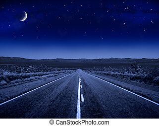 estrellado, camino, noche