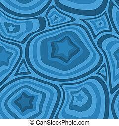 Estrellas azules y patrones de olas