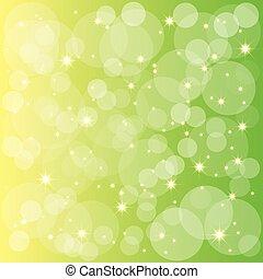 Estrellas brillantes burbujas de fondo amarillo verde