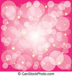Estrellas brillantes burbujas de fondo magenta
