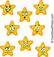 Estrellas de cartón con diferentes emociones