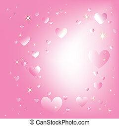 Estrellas de corazones brillantes en un fondo rosado romántico