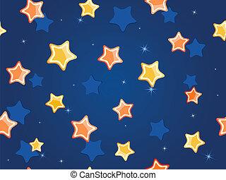 Estrellas de dibujos animados en el cielo azul. Patrón vector