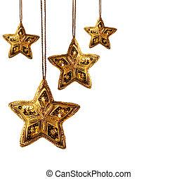 Estrellas de oro aisladas en blanco