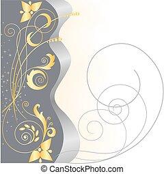 Estrellas de oro y patrones florales