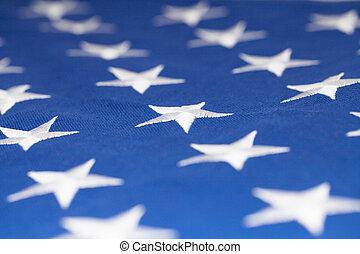 Estrellas en la bandera de los Estados Unidos de América - primer plano estudio
