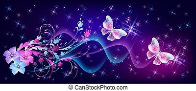 estrellas, fantasía, mariposas, místico, destello, encendido, fabuloso, flores, ornamento