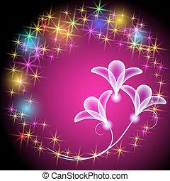 Estrellas multicolores brillantes y flores transparentes de neón