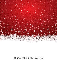estrellas, nieve, plano de fondo, copo de nieve blanco, rojo