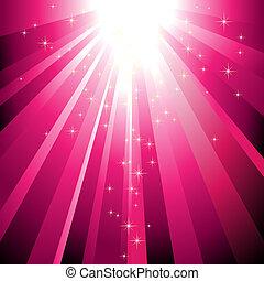 Estrellas resplandecientes descendiendo sobre la luz magenta