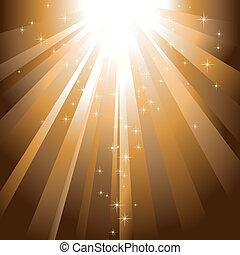 Estrellas resplandecientes descienden sobre la luz dorada