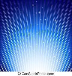 Estrellas resplandecientes en el fondo de la luz azul