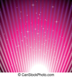 Estrellas resplandecientes en una brillante luz de magenta