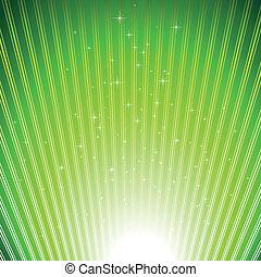 Estrellas resplandecientes sobre luz verde reventaron fondo