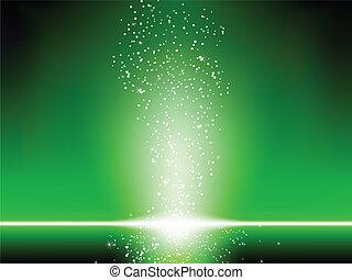 Estrellas verdes de fondo.