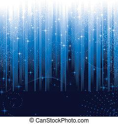 Estrellas y copos de nieve en un fondo azul rayado. Patrón festivo para el invierno o para los temas de Navidad.