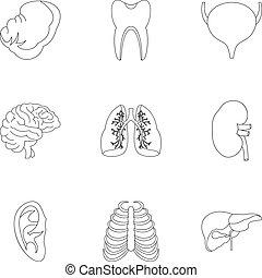 Estructura de iconos corporales establecidos, estilo esbozo