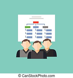 Estructura del equipo de departamento. icono de estructura jerárquica.